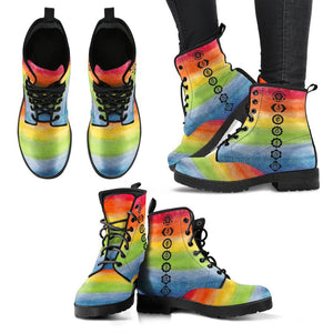 Rainbow Chakra Handcrafted Leather Boots