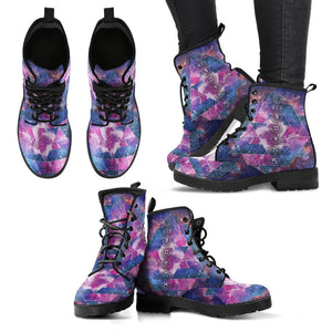 Deep Blue & Purple 7-Chakra Handcrafed Leather Boots