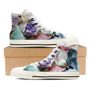 Healing Crystals Women's High Top Canvas White Shoes - atperry's healing crystals