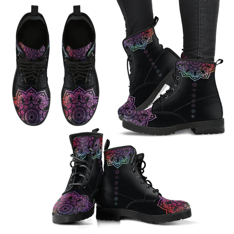 Black Chakra Mandala Handcrafted Leather Boots