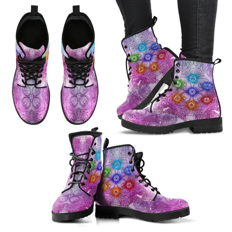 Glowing Chakra Handcrafted Leather Boots