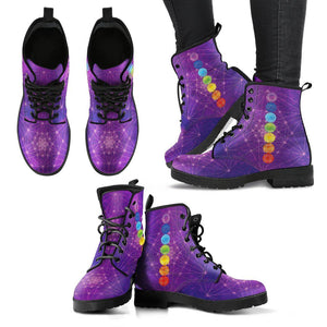 Chakra Mandala Deep Purple Handcrafted Leather Boots