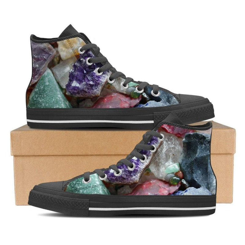 Healing Crystals Women's High Top Canvas Black ShoesHealing CrystalsUS6 (EU36)