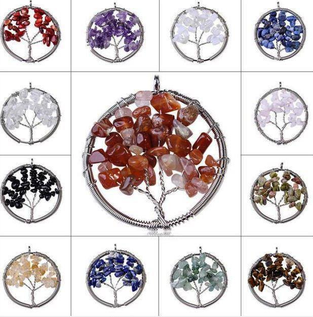 12 pieces of Wisdom Tree of Life Gemstone Pendants  Only  7.5 Per Tree   Free Shipping    AtPerrys Healing Crystals   1