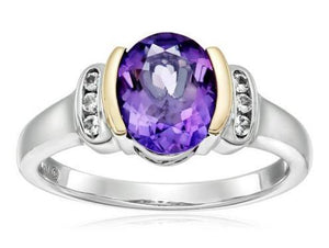 14k Yellow Gold White Topaz and Oval Amethyst RingRing8
