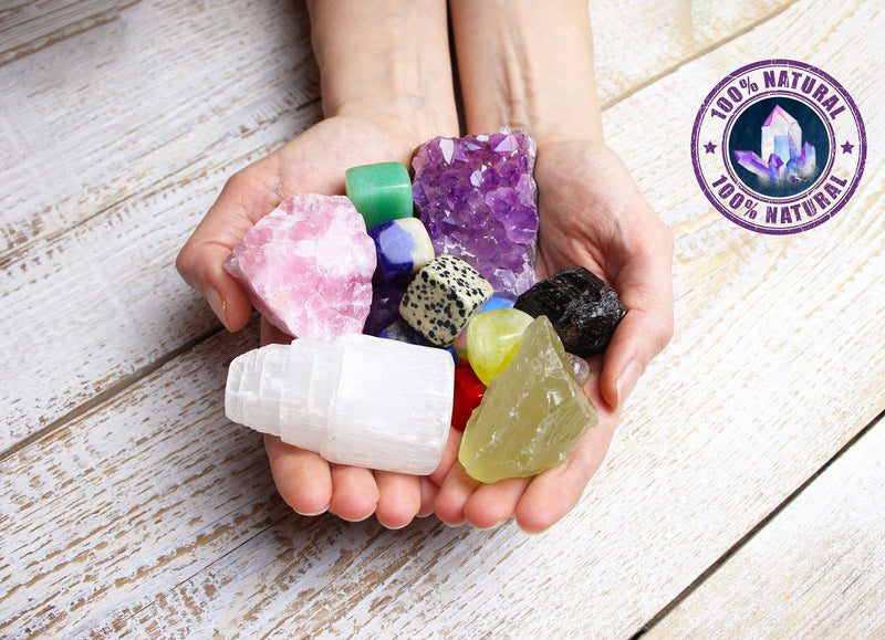 Ubud Box - Set of Natural 16 Healing Crystals for Stress and Anxiety Relief + Free Chakra Tree of Life Necklace (Shipping to USA only)Healing Crystals