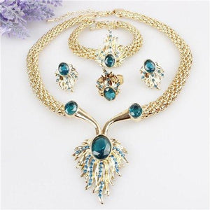 18K Gold Plated Austrian Crystal Necklace Bracelet + Ring + Earrings Jewelry Set - atperry's healing crystals