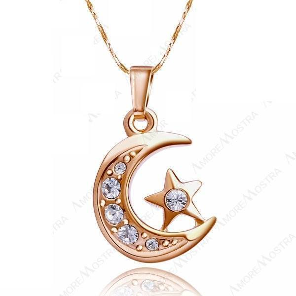 18k gold plated chain moon star with rhinestones pendant necklace 18k gold plated chain moon star with rhinestones pendant necklace atperrys healing crystals 1 aloadofball Images