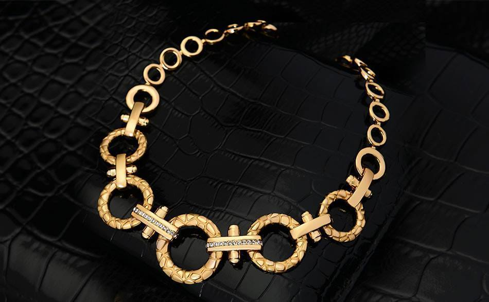 18k Gold Plated Crystal Golden Big Circle Necklace   AtPerrys Healing Crystals   1