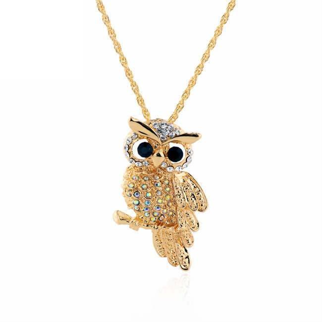 18K Gold Rhinestone Filled Cute Owl Pendant Necklace   AtPerrys Healing Crystals   1