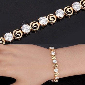 18K Real Gold Plated Luxury Clear AAA Cubic Zirconia Jewelry Chain Bracelet   AtPerrys Healing Crystals   1