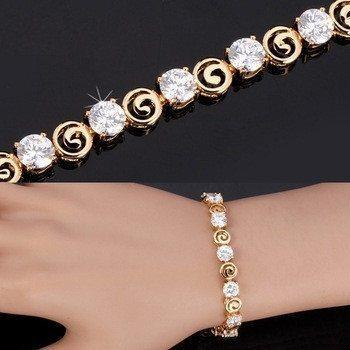 18K Real Gold Plated Luxury Clear AAA Cubic Zirconia Jewelry Chain BraceletJewelry Set