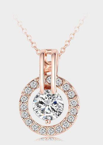 18K Rose Gold Plated Genuine Crystal Round Pendant Necklace - atperry's healing crystals