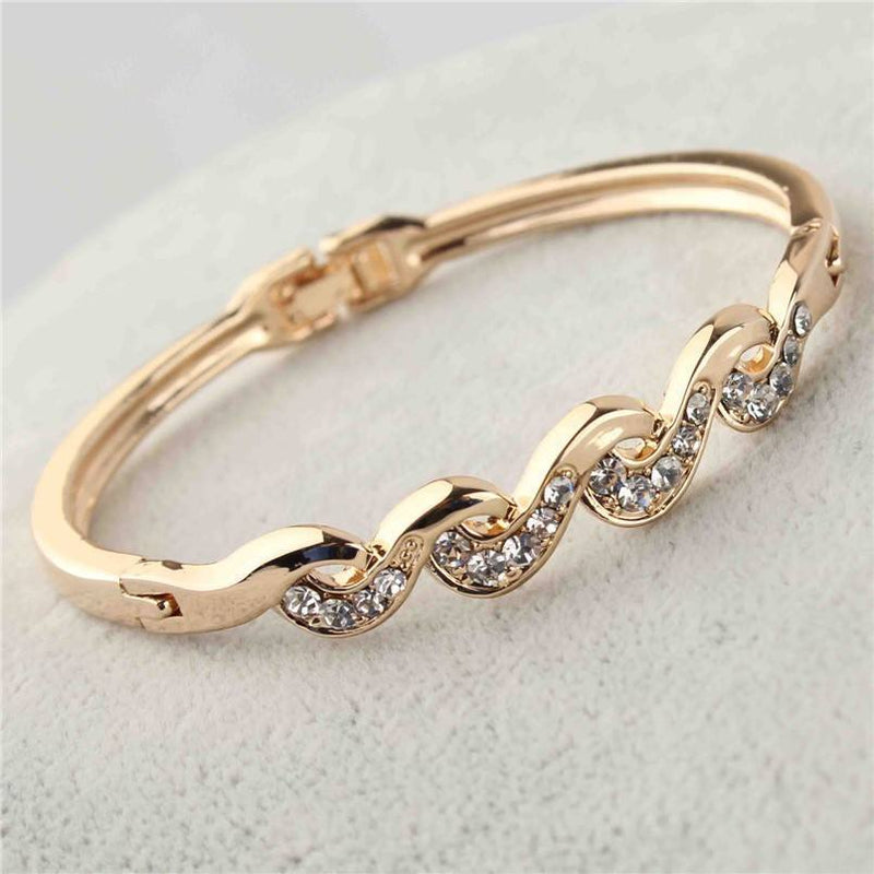 18K Yellow Gold Twist Clear Austrian Crystal Wrist Bracelet   AtPerrys Healing Crystals   1
