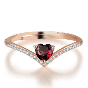 Heart Red Garnet Ring - 925 Sterling Silver - AtPerry's Healing Crystals™