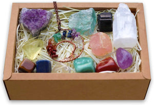 Ubud Box - Set of Natural 12 Healing Crystals for Stress and Anxiety Relief + Free Chakra Tree of Life Necklace (Shipping to USA only)