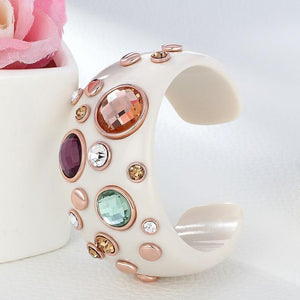 Round Crystal Rhinestones Cuff Bangle - atperry's healing crystals