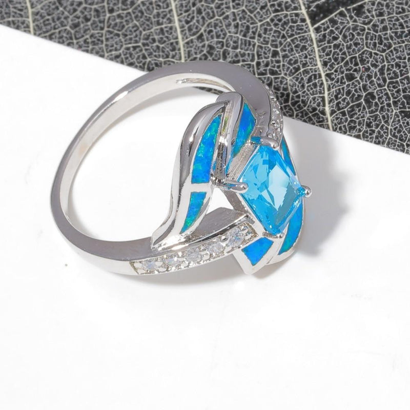 Blue Fire Opal Diamonds RingRing