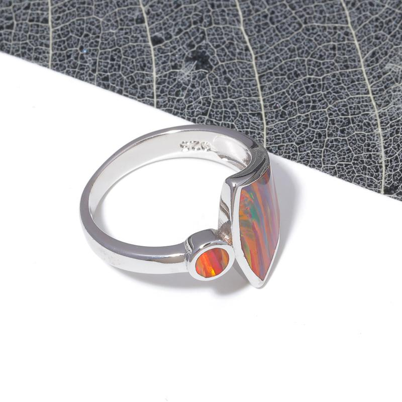 Enormous Orange Fire Opal Ring