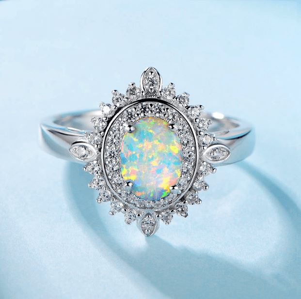 Australian Fire Opal Ring - 925 Sterling Silver - atperry's healing crystals
