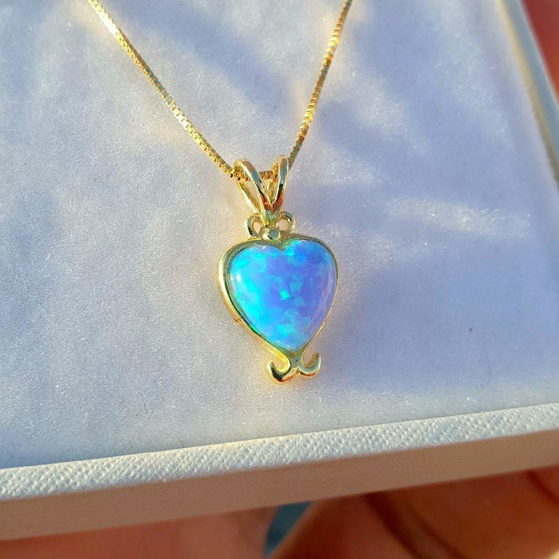 Blue Fire Opal Necklace in 14k Solid Gold