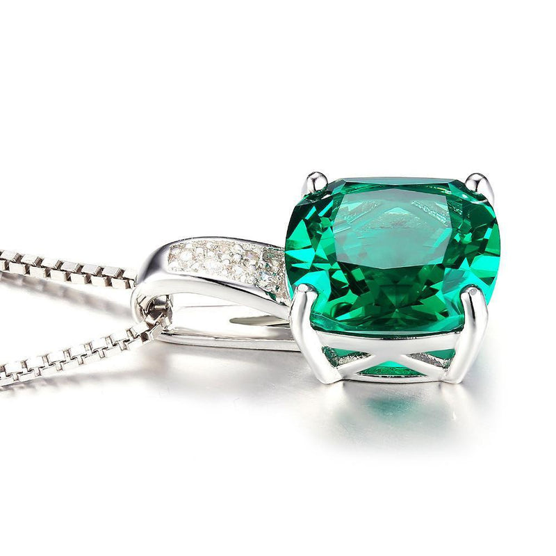 3.4ct Emerald Pendant - 925 Sterling SilverNecklace