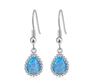 Teardrop White & Blue Fire Opal Dangling EarringsEarringsBlue Fire Opal