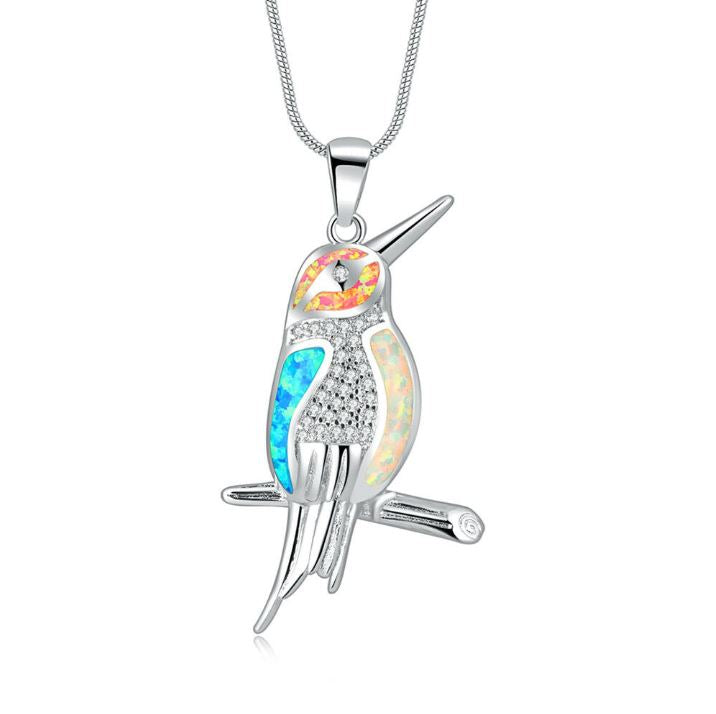 Tri-Fire Opal Bird Pendant Sterling SilverNecklace