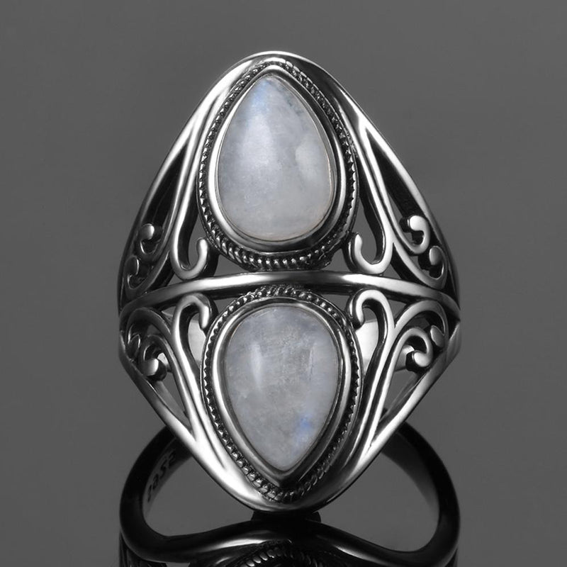 Vintage Rainbow Moonstone Ring - 925 Sterling SilverRing