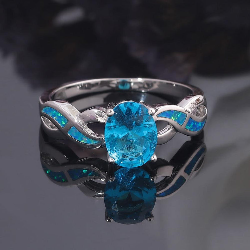 Round Blue and Pink Fire Opal RingRing