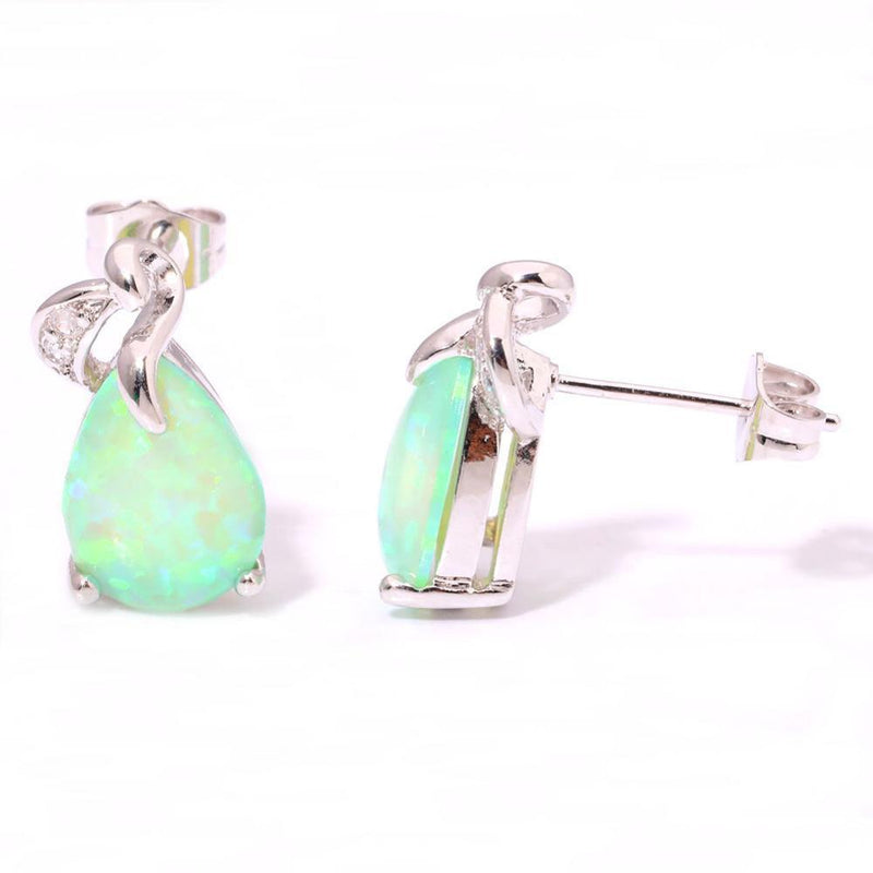 Green Fire Opal Silver EarringsEarrings