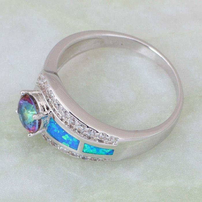 Mystic Topaz Opal Silver Ring (Silver Plated)Ring