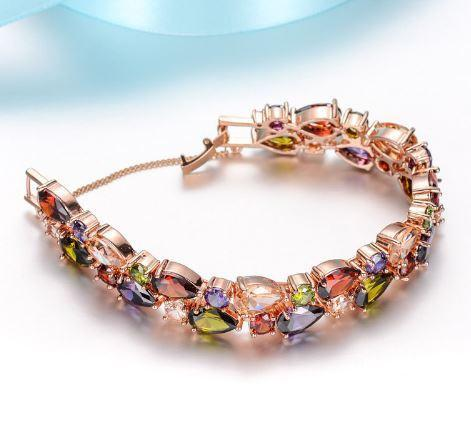 Multicolor Rose Gold Plated Bracelet   AtPerrys Healing Crystals   1