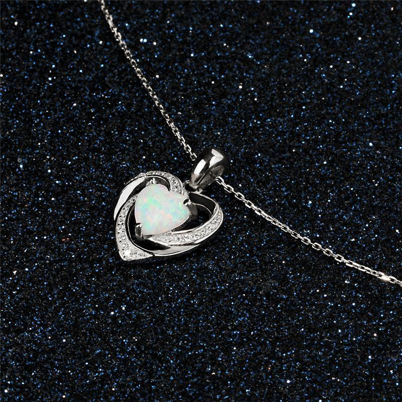 Heart White Fire Opal Silver Necklace