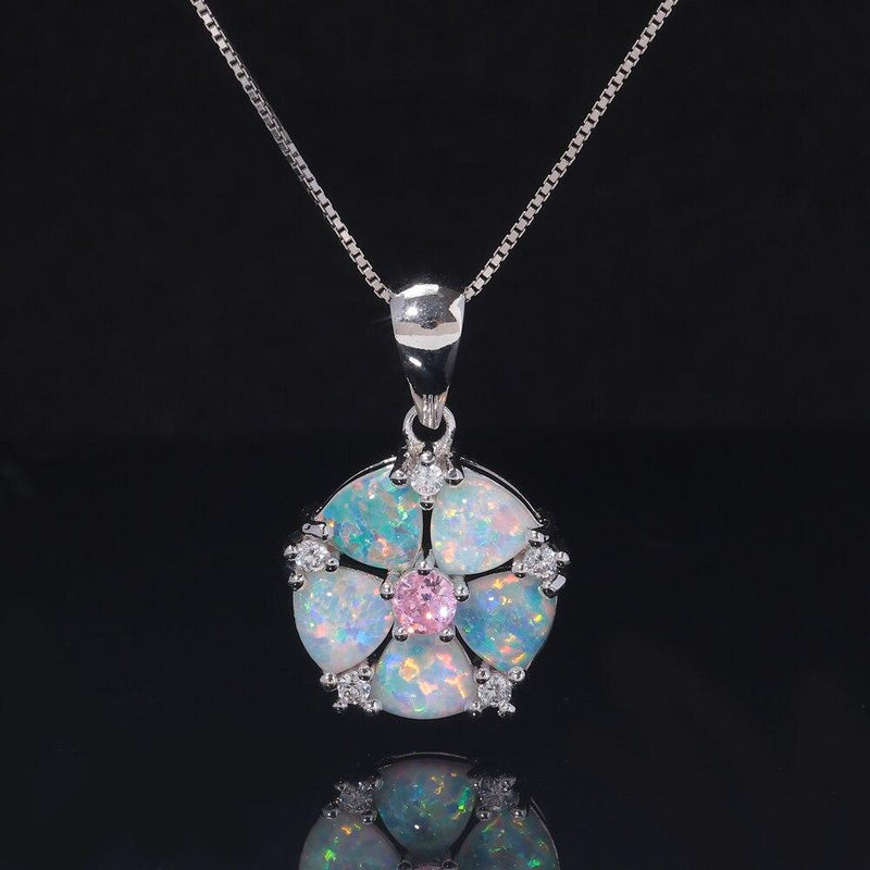 White Fire Opal Rose Quartz Flower Pendant (Pendant Only - No Chain)Necklace