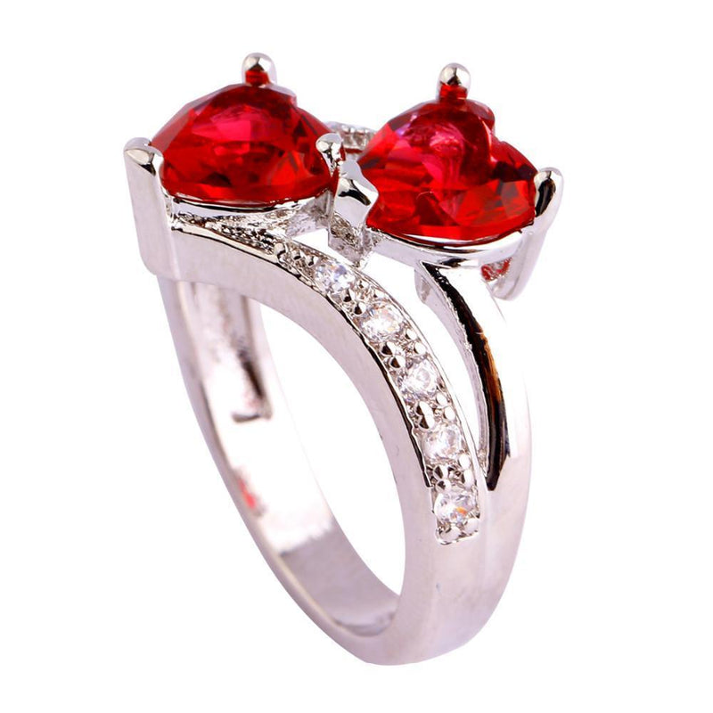 Red Ruby Spinel Double Heart Design RingRing