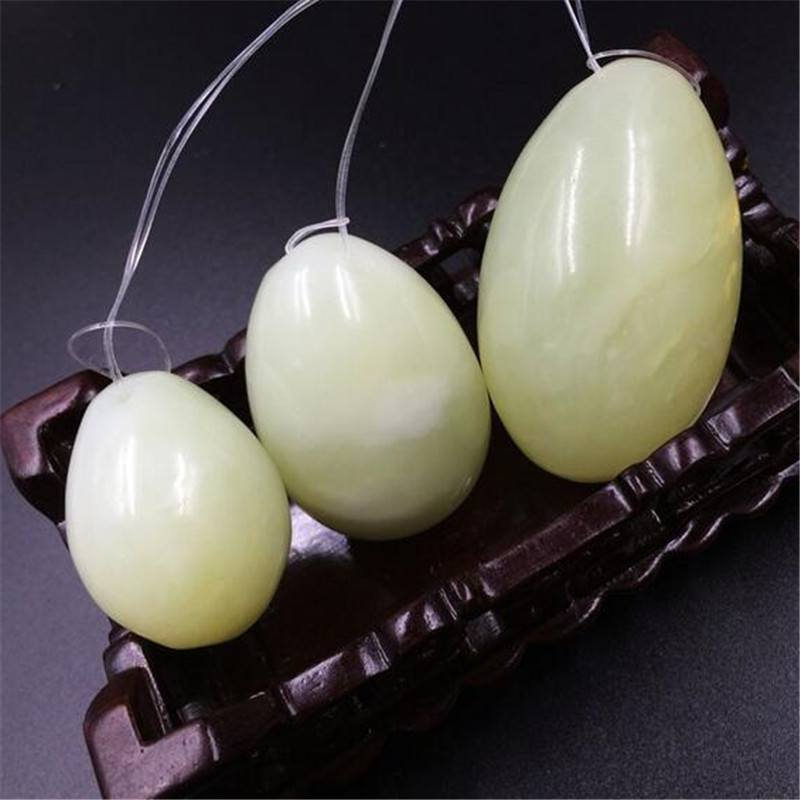 Drilled Natural Green Jade Yoni Eggs for Kegel Exercise (3 eggs)Yoni Eggs