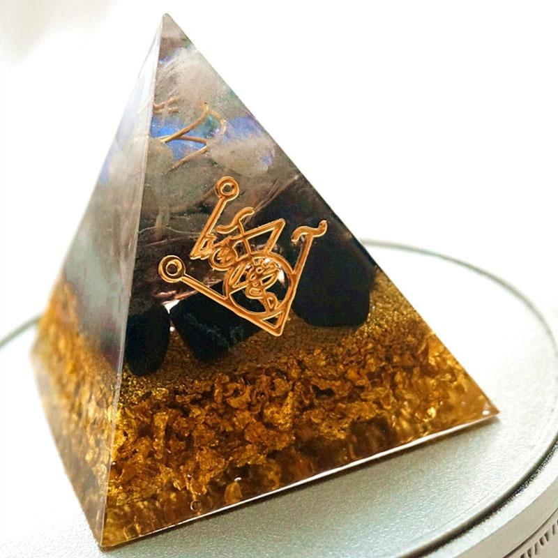 Orgone Pyramid Obsidian Natural CrystalDecoration