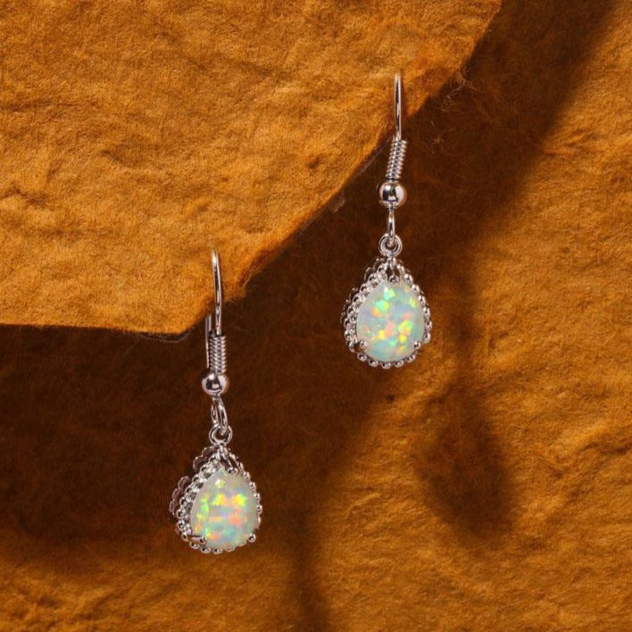 White Fire Opal Silver Drop EarringsEarrings