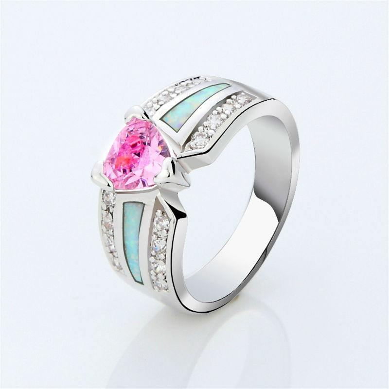 Pink Sapphire Heart White Opal RingRing