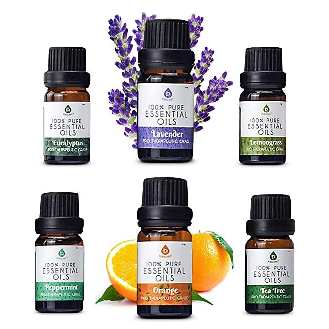 100% Pure Essential Aromatherapy Oil Set (6 Bottles)
