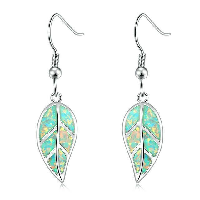 Leaf Fire Opal Stone Dangle EarringsEarringsGreen