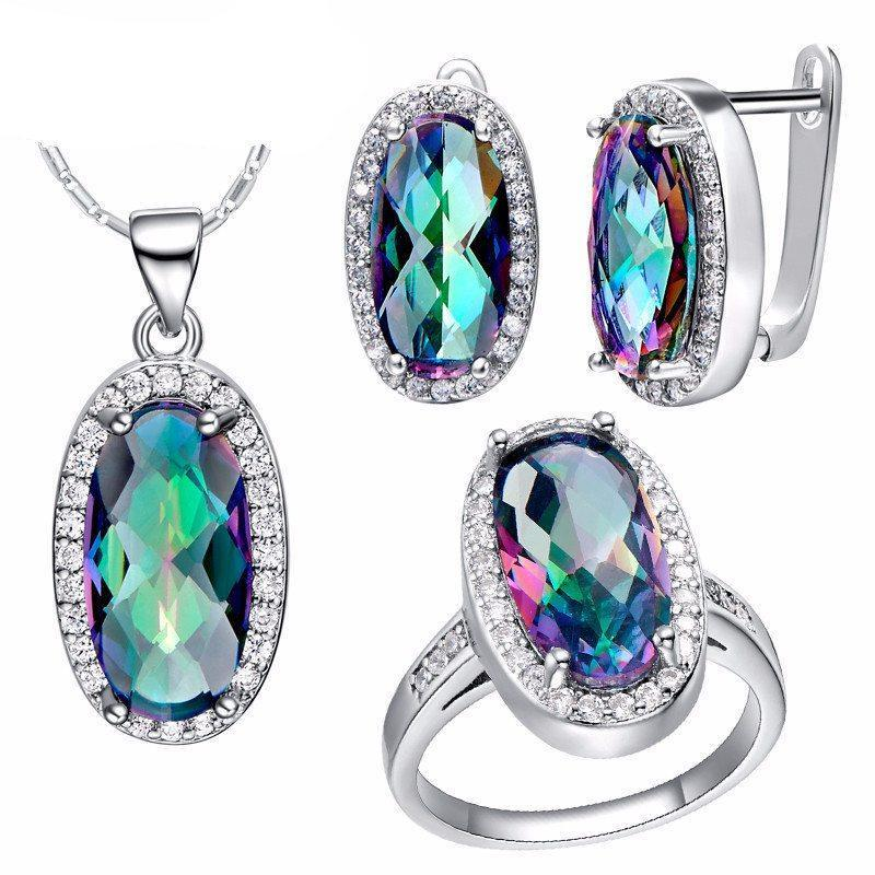 925 Silver Jewelry Set Rainbow Mystic Topaz   AtPerrys Healing Crystals