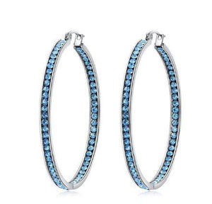 Simultaneous Stones Big Hoop EarringsEarringsBlue
