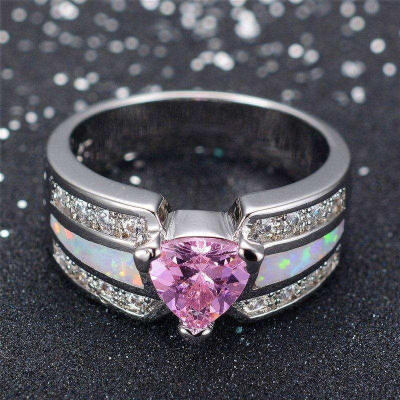 Pink Sapphire Heart White Opal RingRing5