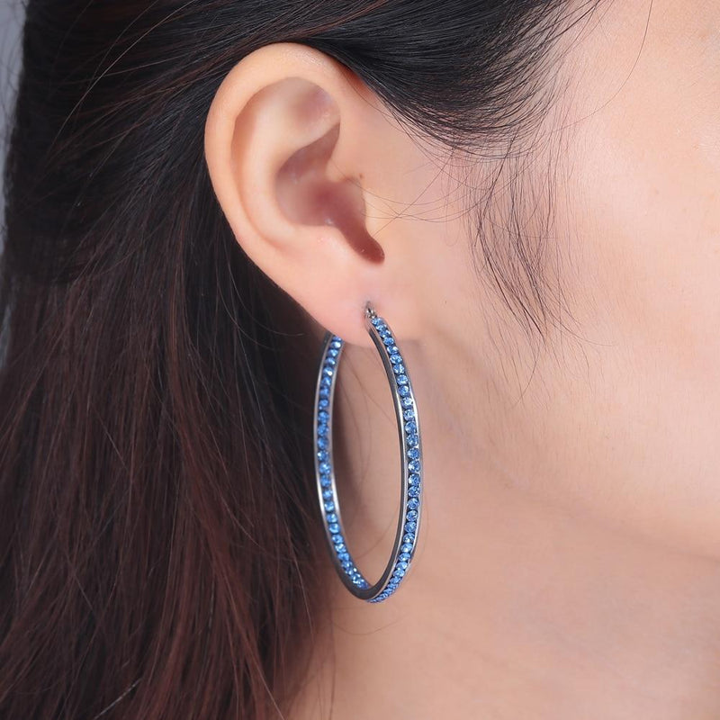 BOHO Silver/Blue & Gold/White Crystal Hoop EarringsEarrings