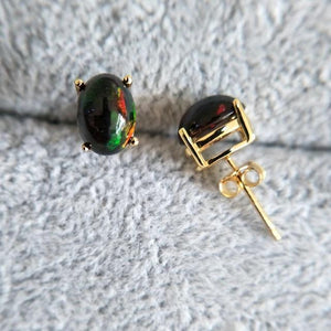 Stylish Natural Black Opal Earrings - 925 Sterling Silver - atperry's healing crystals