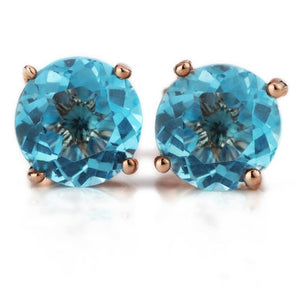 Natural Deep Blue Topaz Earrings - 925 Sterling Silver - atperry's healing crystals