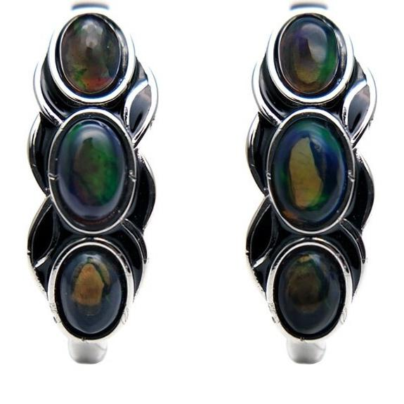 Vintage Natural Black Opal Earrings -  925 Sterling Silver - atperry's healing crystals