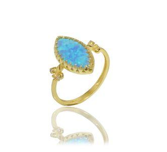 Blue Opal and Diamond Ring Set in 14K Solid Gold - atperry's healing crystals